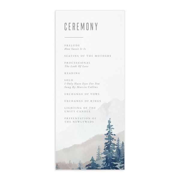 Painted Mountains Wedding Program Card front blue