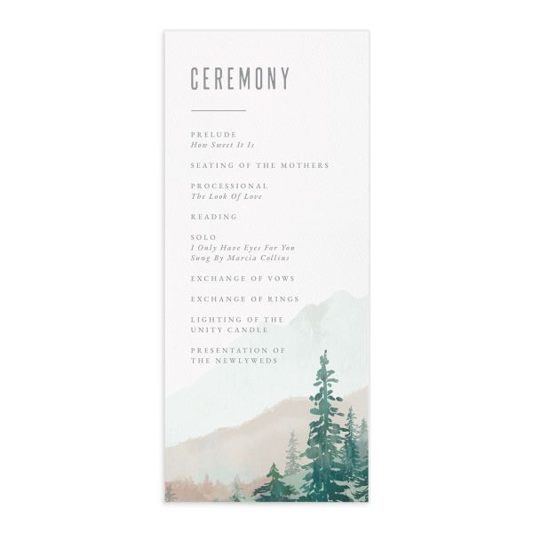 Painted Mountains Wedding Program Card front green