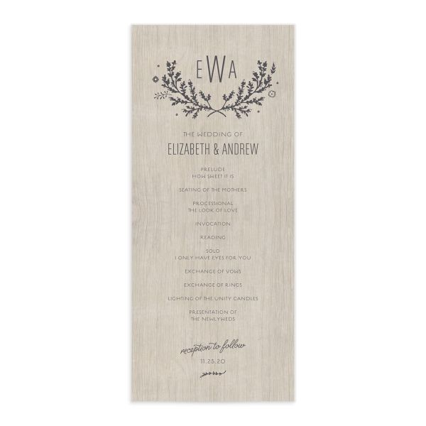 SWSD Rustic Wedding Program Card front Grey
