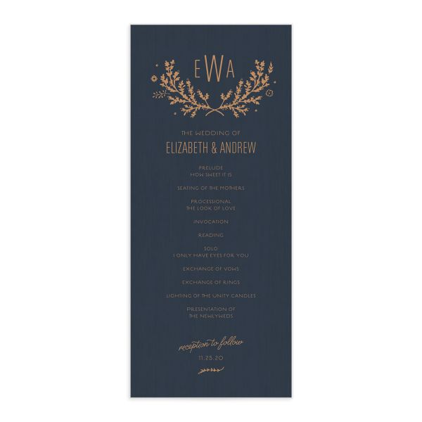 SWSD Rustic Wedding Program Card front Navy