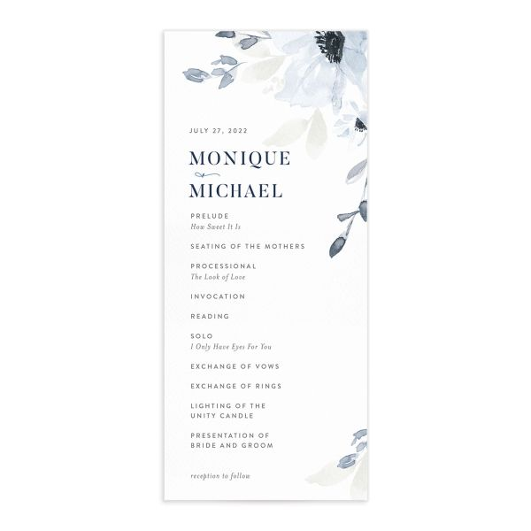 Shades of Blue Wedding Program Card front