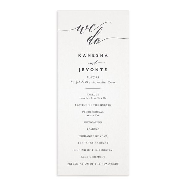 We Do Wedding Program Card front grey