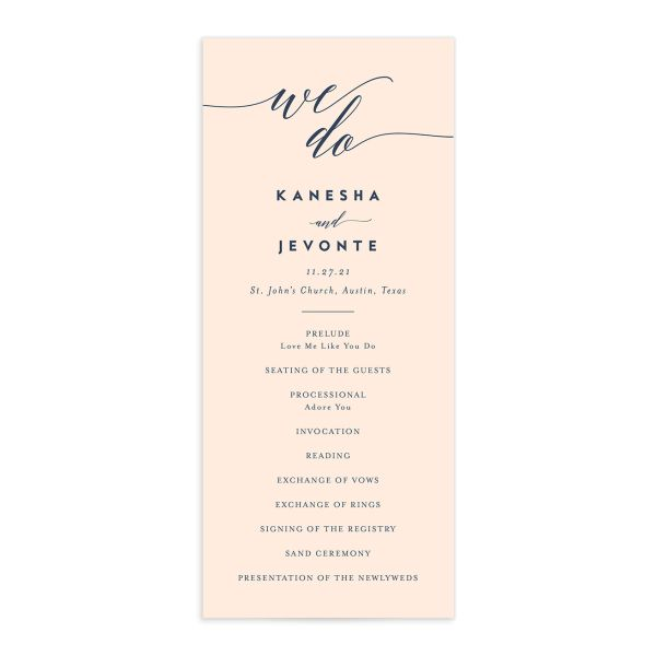 We Do Wedding Program Card front pink