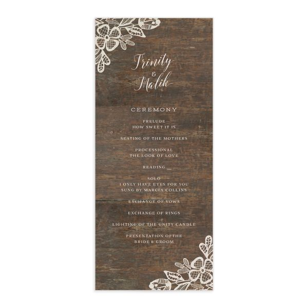 Woodgrain Lace Wedding Program Card front