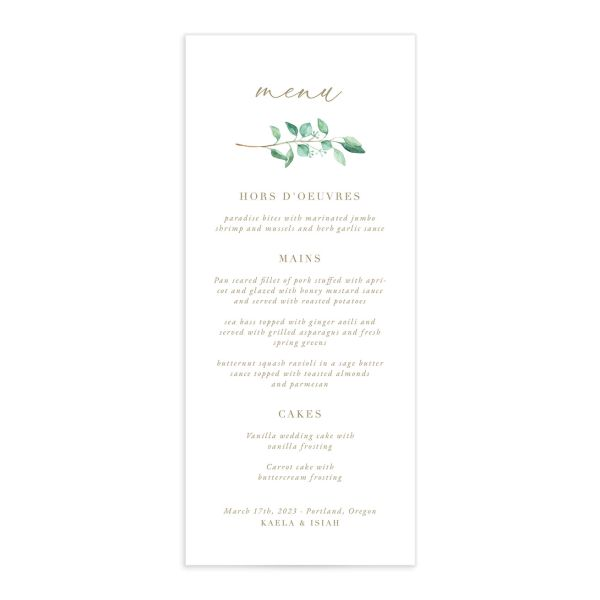 Elegant Eucalyptus Wedding Menu Card front