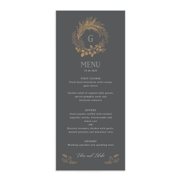 Woodsy Wreath Menu front Grey