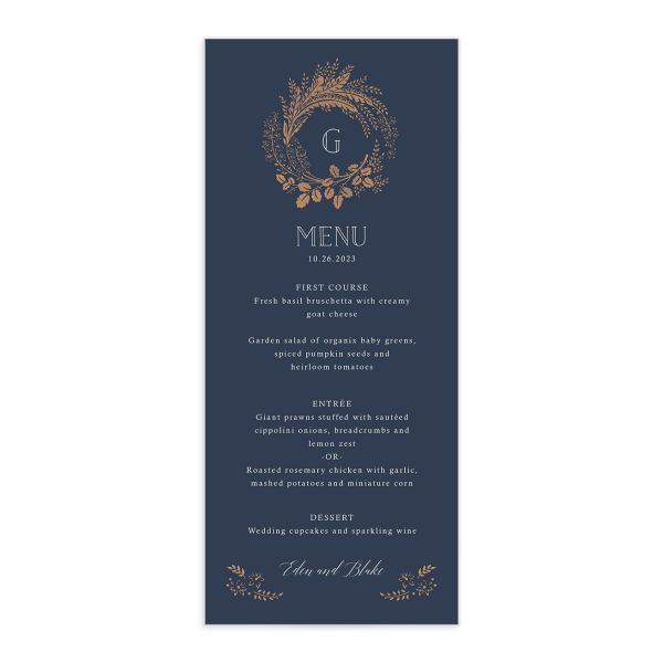 Woodsy Wreath Menu front Navy