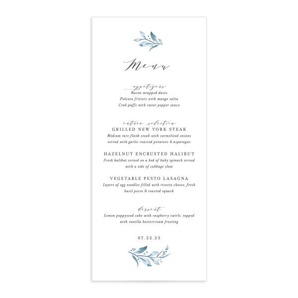 Classic Greenery Menu front in blue