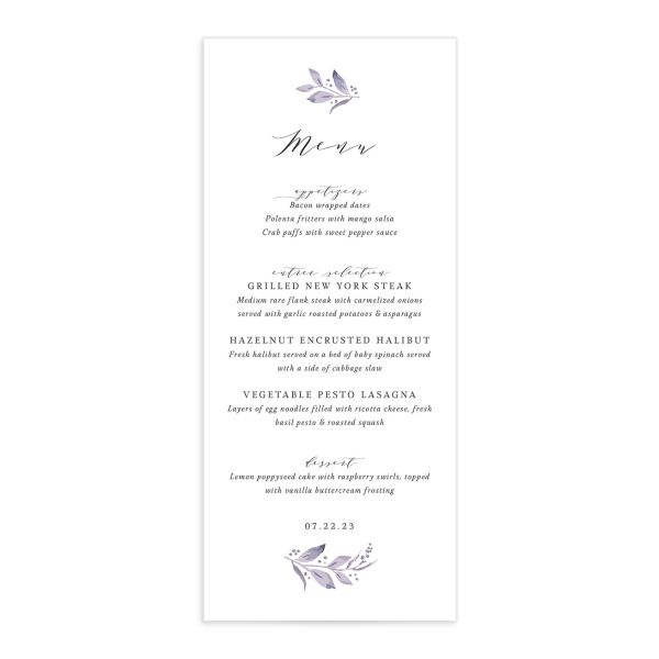 Classic Greenery Menu front in purple