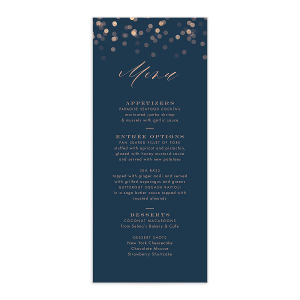 Elegant Glow Menu front in blue