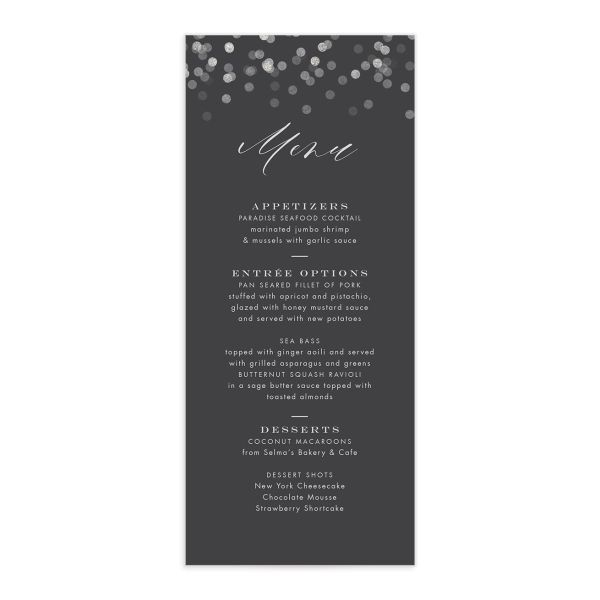 Elegant Glow Menu front in grey