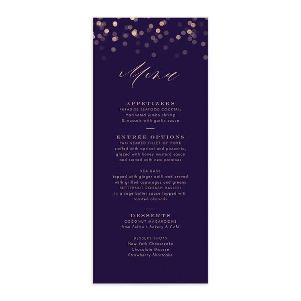 Elegant Glow Menu front in purple