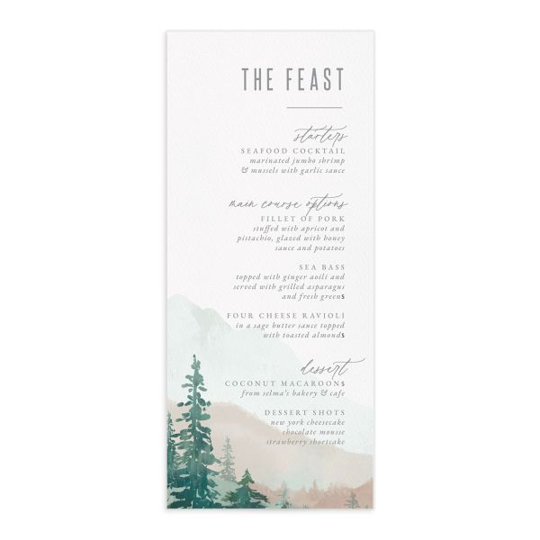 Painted Mountains Wedding Menu Card front green