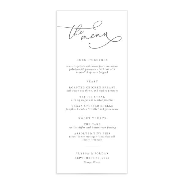 Romantic Calligraphy Menu Card front