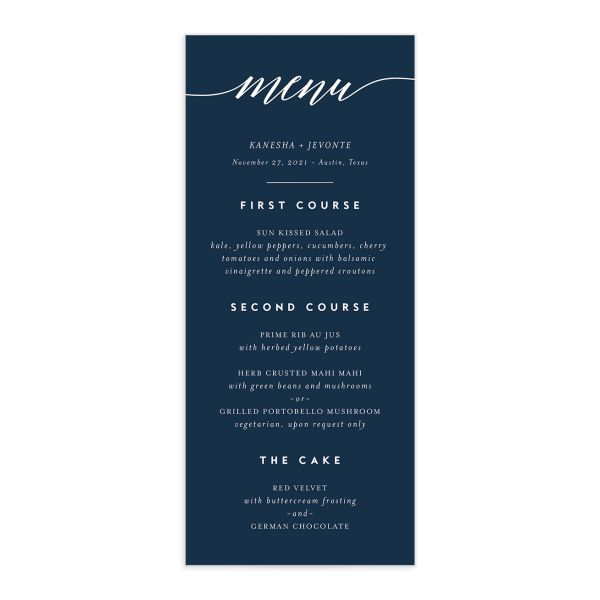 We Do Wedding Menu Card front blue