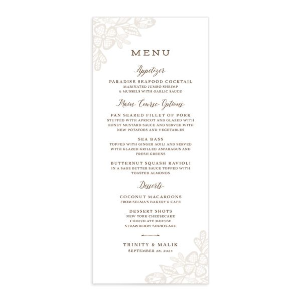 Woodgrain Lace Menu Card front