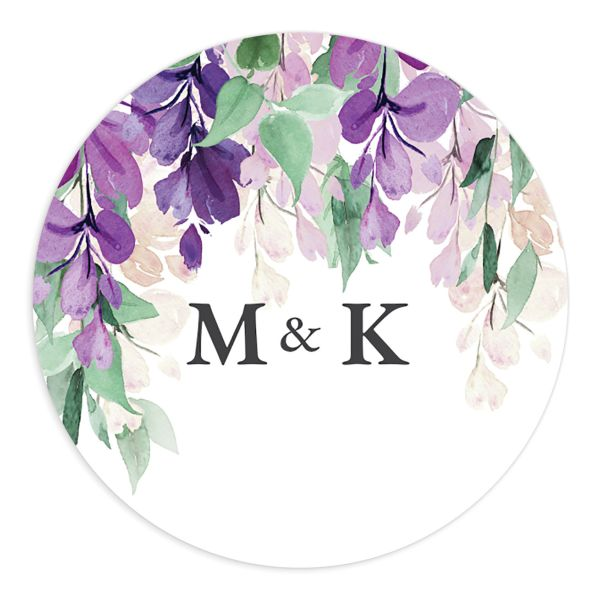 Romantic Wisteria Wedding Stickers in purple