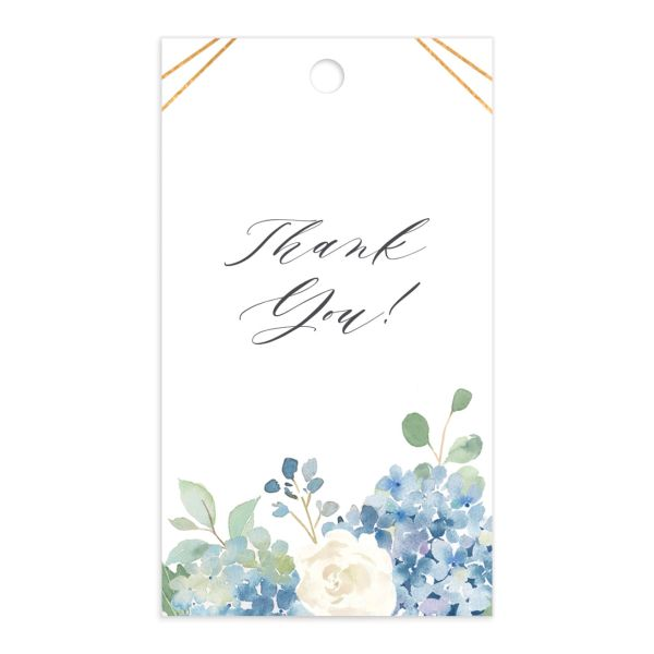 Elegant Hydrangea gift tag front blue