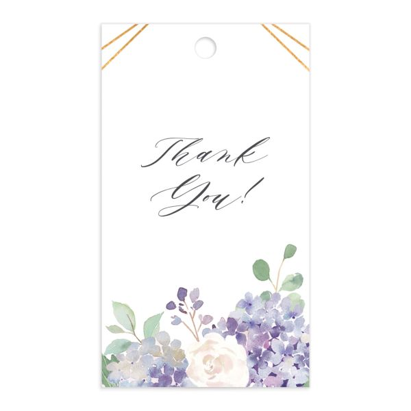 Elegant Hydrangea gift tag front lavender