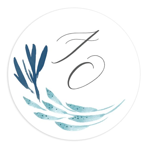 Elegant Beach Wedding Sticker in blue