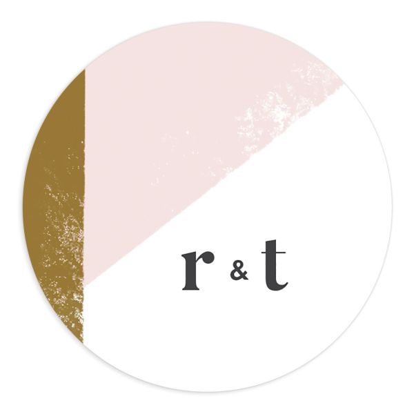 Modern Colorblock Wedding Sticker in pink