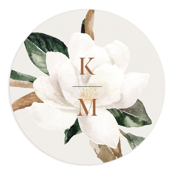 Painted Magnolia Wedding Sticker in grey