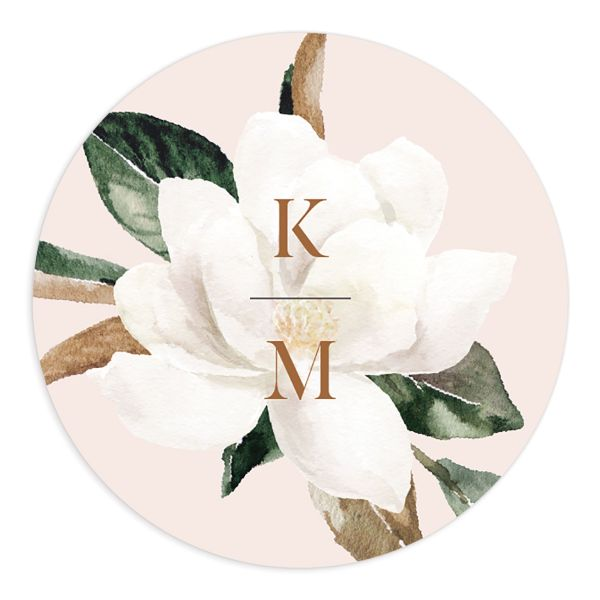 Painted Magnolia Wedding Sticker in pink