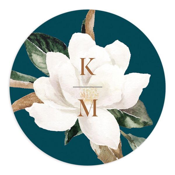 Painted Magnolia Wedding Sticker in teal