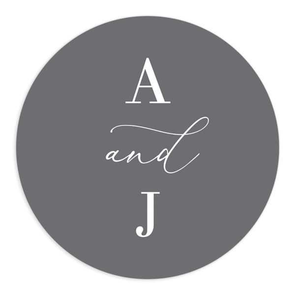 Romantic Calligraphy Round Sticker grey