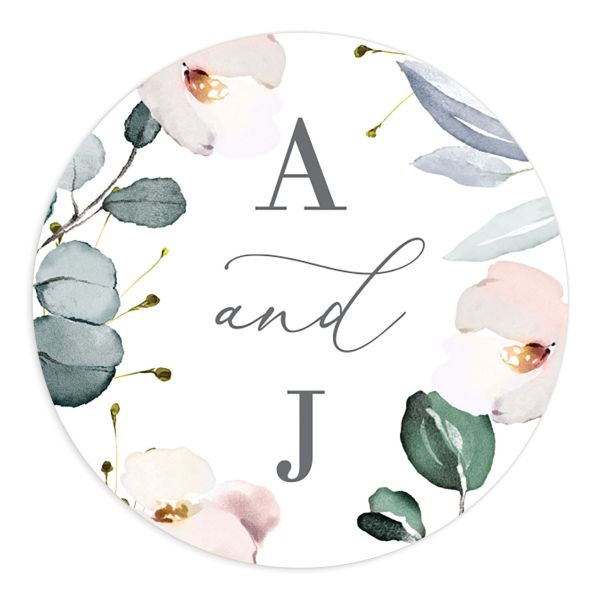 Romantic Calligraphy Round Sticker mulberry