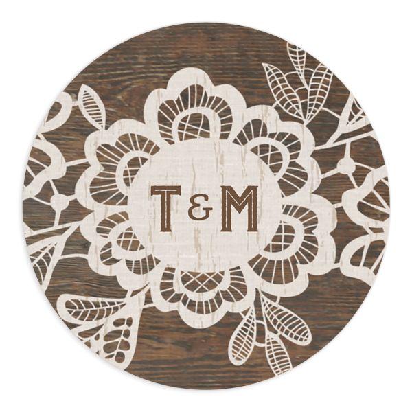 Woodgrain Lace Wedding Stickers