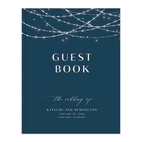 Elegant Lights Wedding Guest Book front