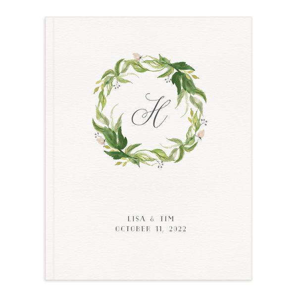 Leafy Wreath Wedding Guest Book front green