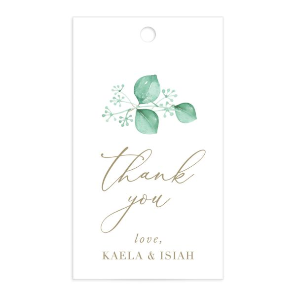 Elegant Eucalyptus Wedding Favor Gift Tag front
