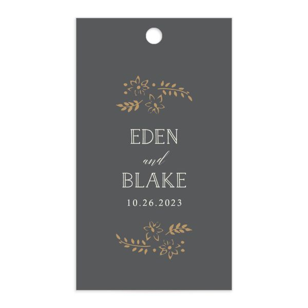 Woodsy Wreath Wedding Favor Gift Tag front Grey
