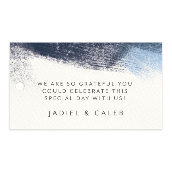 Modern Brushstroke Wedding Favor Gift Tag Blue