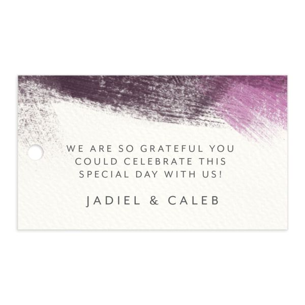 Modern Brushstroke Wedding Favor Gift Tag Purple