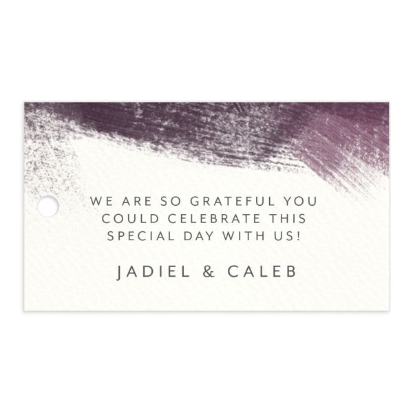 Modern Brushstroke Wedding Favor Gift Tag Burgundy