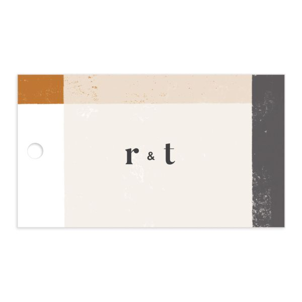 Modern Colorblock Favor Gift Tag front in grey
