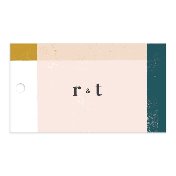 Modern Colorblock Favor Gift Tag front in teal