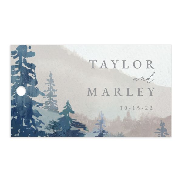Painted Mountains Gift Tag front blue