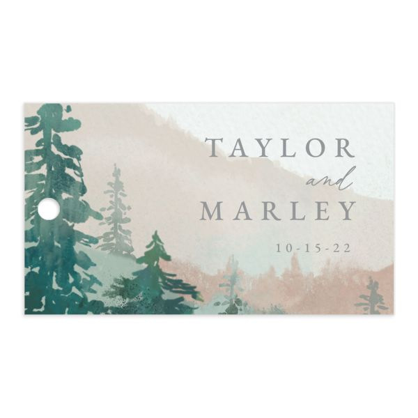 Painted Mountains Gift Tag front green