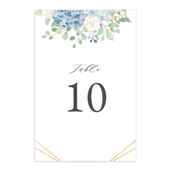 Elegant Hydrangea table number front blue