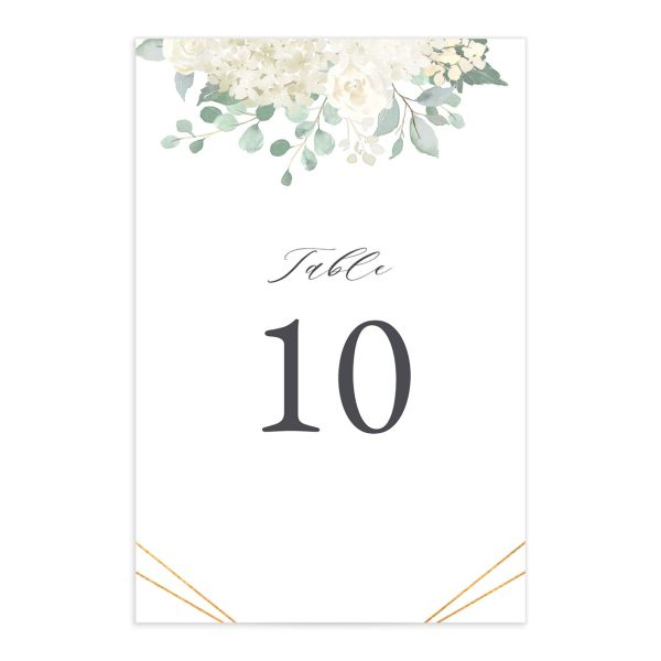 Elegant Hydrangea table number front white