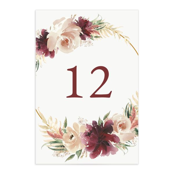 Floral Wreath table number front