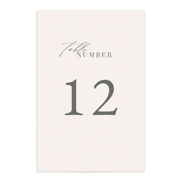Rustic Minimal Table Number front in cream