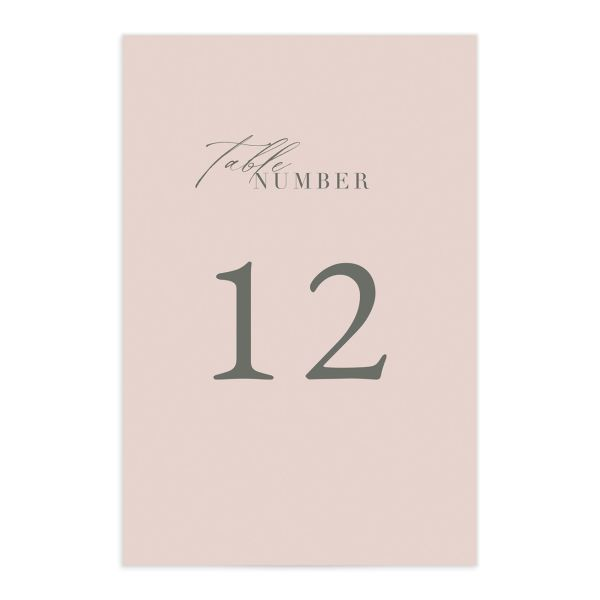 Rustic Minimal Table Number front in pink