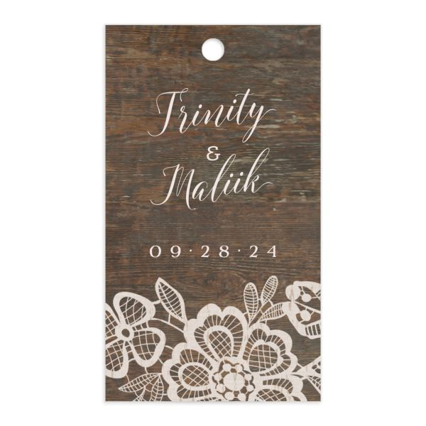 Woodgrain Lace Wedding Favor Gift Tag front
