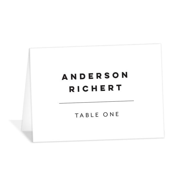 Garden Picnic Wedding Place Cards front in black