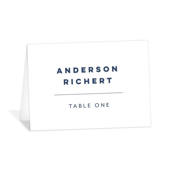 Garden Picnic Wedding Place Cards front in blue